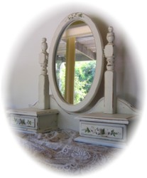 Hand Painted Combination Mirror Drawer set - Pick Up only