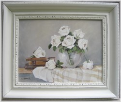Original Painting - White Roses and Vintage Books - Postage is included Australia wide