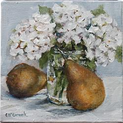 Original Painting on Canvas - Hydrangeas and Pears - 20 x 20cm series