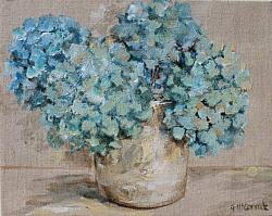 Original Painting on Canvas - Faded Hydrangeas - Free postage Auswide