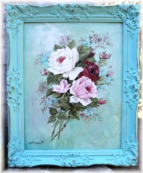 Original Painting - Bouquet of Roses Aqua toned background - Postage is included Australia Wide