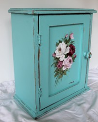 Hand Painted - Timber Cupboard (aqua) - Postage is included Australia wide