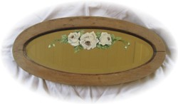 Hand Painted Vintage Oval Mirror - White Roses - Postage is Included Australia Wide