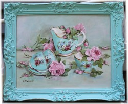 Original Painting -Tea Set & Roses - Postage is included Australia Wide