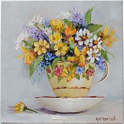 Original Painting on Canvas - Bouquet in a Tea Cup - 20 x 20cm series