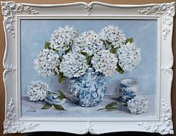 Original Painting - Still Life White Hydrangeas - postage included Australia wide