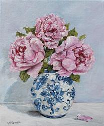 ORIGINAL Painting on Canvas - Favourite Peonies -Postage included Aus wide