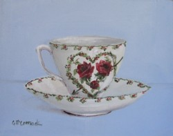 Original Painting  on Canvas - Valentines Day Tea Cup - Postage is included Australia Wide