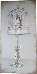 Original Painting on Canvas -The Vintage Bird Cage - Postage is included Australia Wide