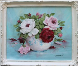 Original Painting - Bowl of Roses - Postage is included Australia Wide
