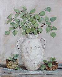 ORIGINAL  Painting on Canvas - Gum Leaves in a Rustic Urn - postage included Australia wide