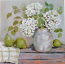Original Painting on Canvas - Pears & Gum Leaves  - postage included Australia wide