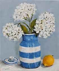 ORIGINAL Painting on Canvas - Hydrangeas and Lemons - Postage included Aus wide
