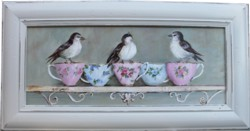 Original Painting  - Birds & Tea Cups on a French Shelf - Postage is included in the price Australia Wide