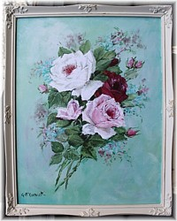 Framed Print - Bouquet of Roses Aqua Toned background - Postage is included Australia wide