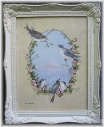 Original Painting - Vintage Inspired Birds - Postage is included Australia wide