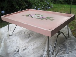 Folding Vintage Tray with Hand painted Roses - Postage is included Australia wide