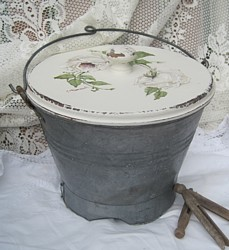 Tin Pail with Hand Painted Lid - Postage is included Australia Wide