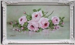 Original Painting - Resting Pink Roses - Postage is included Australia wide