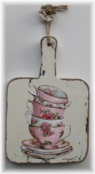 Hand Painted - Stacked Tea Cups on Reclaimed Cheese Board - Postage is included Australia wide