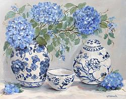 Original Painting on Canvas - Hydrangeas with Blue & White - postage included Australia wide