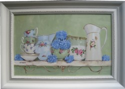 Original Painting - Vintage China & Hydrangeas - PICK UP ONLY