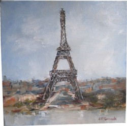 Original Painting on Canvas - The Eiffel Tower - Postage is included Australia wide