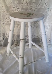 Hand Painted Timber Stool with round top