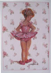 Gift Card-Single card - Fair Haired Ballerina floral background - Free Postage Australia wide only