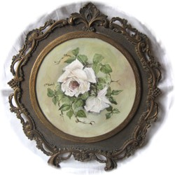 "Original Painting  ""Creamy White Roses"" in a Vintage Brass frame"