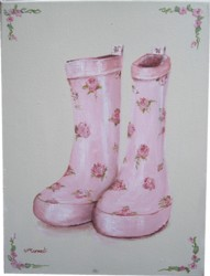 Original Painting on Canvas  - Rosy Gum Boots - Postage is included Australia Wide