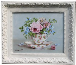 "Original Painting - ""Blooms in a Tea Cup"" - FREE POSTAGE Australia wide"