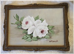 Original Painting - White Roses in a Vintage Frame - FREE POSTAGE Australia wide
