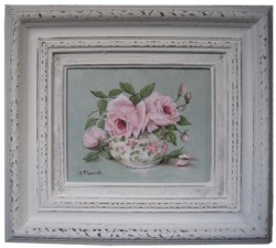 Original Painting - Pair of Pink Roses in a Chintz Bowl - FREE POSTAGE Australia wide
