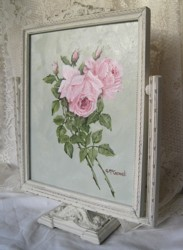 Original Painting - Pink Roses in a Vintage Swing Frame - Postage is included in the price Australia Wide