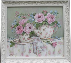 Original Painting - Morning Tea with Flowers - Postage is included Australia wide