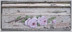 Original Painting - Pink Roses on Red Pine Timber Architrave - Postage is included AUSTRALIA wide