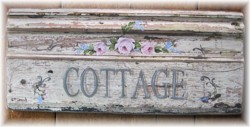 "Original Painting - ""COTTAGE""on Red Pine Timber Architrave - Postage is included AUSTRALIA wide"