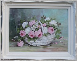 Original Painting - Blooms in a Basket - Pick Up Only