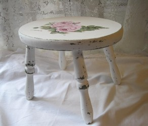 Hand Painted Timber Stool with Pink Roses - Postage is included Australia wide