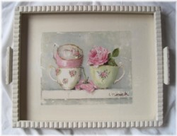 Tea Cups on a Vintage Tray - Postage is included Australia Wide