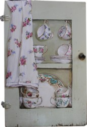 Original Painting on Vintage Cupboard door - China - Postage is included Australia wide
