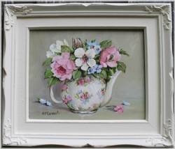 "Original Painting - ""Blooms in a Tea Pot"" - FREE POSTAGE Australia wide"