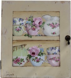 Original Painting on Vintage Cupboard door - China & Blooms - Postage is included Australia wide