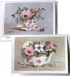 Gift Cards - set of 2 - Blooms in a Tea Pot & Cup - Free Postage Australia wide only