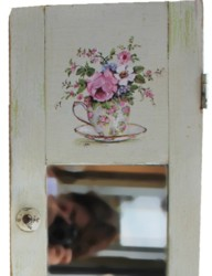 Hand Painted Tea Cup & Blooms on Vintage Cupboard door - Postage is included Australia wide