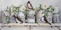 Original Mixed Media on Panel - French Pots, Roses & Birds - Postage is included Australia Wide