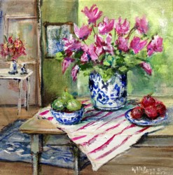 Original Painting on Canvas - Interior with fruit & flowers - 20 x 20cm series