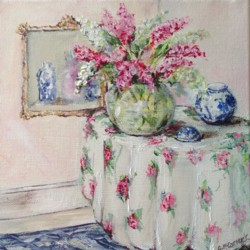 Original Painting on Canvas - Florals with Blue & White - 20 x 20cm series