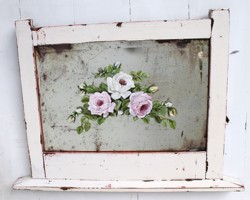 Chippy Old Mirror - with hand painted rose design